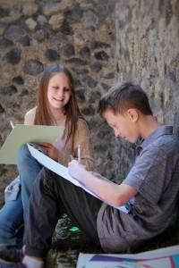 Joshua and Katherine drawing